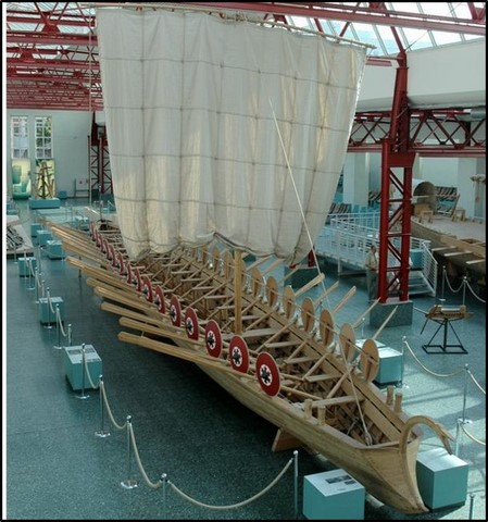 roman square sail boat 3rd-4th cent AD
