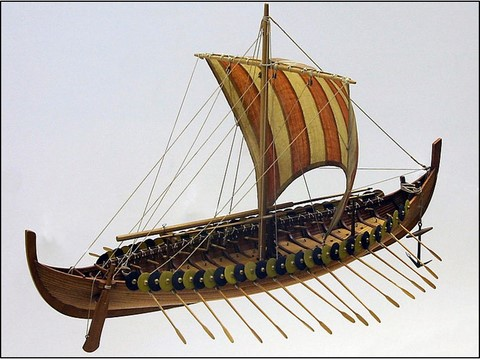 Viking square sail boat 9th cent