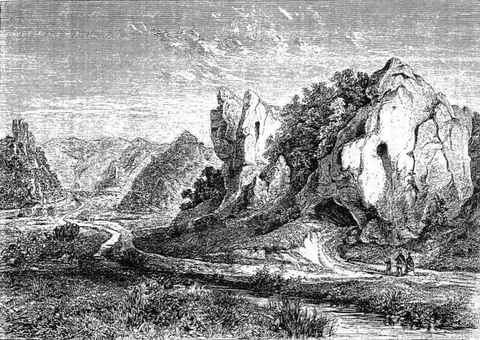 hohle fels cave, early 19th century engraving