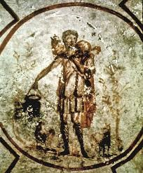 Jesus as the Good Shepherd in the catacomb of Callixtus (Rome)