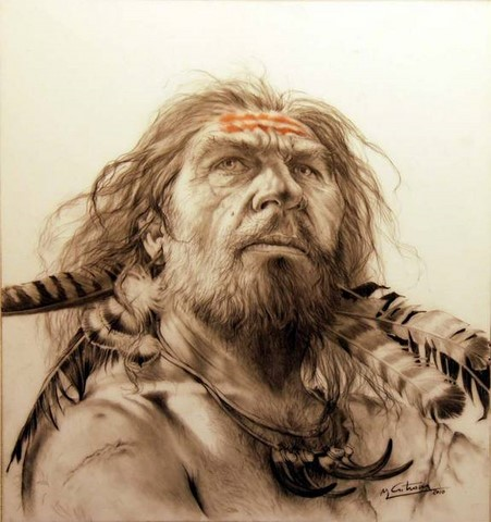 Neanderthaler with feathers by Mauro Cutrona