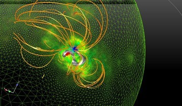 magnetic field with solar eruption, magnetic cord, arcades